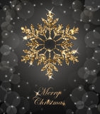 与光亮的金雪花的光亮的圣诞节背景 圣诞快乐看板卡 向量 向量例证