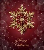 与光亮的金雪花的光亮的圣诞节背景 圣诞快乐看板卡 向量 皇族释放例证