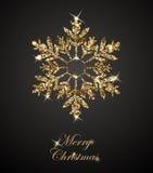 与光亮的金雪花的光亮的圣诞节背景 圣诞快乐看板卡 向量 免版税库存照片