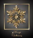 与光亮的金雪花的光亮的圣诞节背景 圣诞快乐看板卡 向量 图库摄影