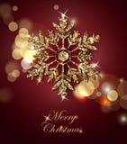 与光亮的金雪花的光亮的圣诞节背景 背景圣诞节新的雪花年 库存图片