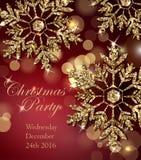 与光亮的金雪花的圣诞晚会邀请 免版税库存图片