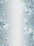 与光亮的银色星形的灰色背景 库存例证