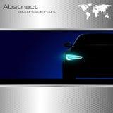 与光和抽象backgro的汽车剪影 免版税图库摄影