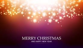 与光和星的圣诞节不可思议的背景 向量例证
