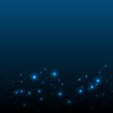 与光和星的抽象蓝色背景 圣诞节backgro 免版税库存照片