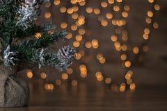 与光和木背景的微型圣诞树 库存图片