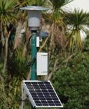 与光和照相机的太阳电池板 免版税图库摄影
