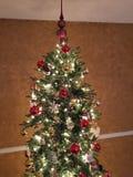 与光和装饰品的圣诞树 免版税库存照片