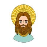 与光晕字符宗教象的Jesuschrist 库存例证