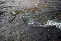 与光滑深蓝蓝色口气的海岸线的水摘要, 免版税库存图片