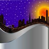 与光照亮的晚上城市的背景 库存例证