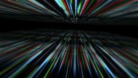 与光的动画慢动作的抽象技术背景镶边小点圈子蓝绿色红色 向量例证