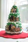 与光的圣诞树 库存图片