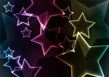 与光的星抽象背景和发光 免版税库存照片