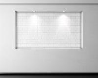 与光的空的砖适当位置在涂灰泥的墙壁上 3d 免版税库存照片