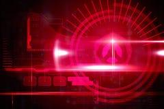 与光的红色技术接口 库存图片