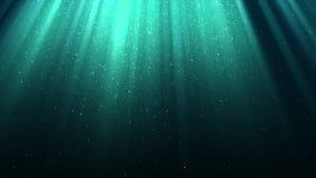 与光的背景,神的发光,闪闪发光,落的雪,夜蓝色光亮的天空,无缝的圈 股票录像