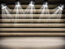 与光的被阐明的空的音乐会阶段 库存照片