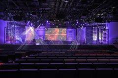 与光的音乐会阶段 免版税库存照片
