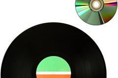 与光盘的唱片 免版税库存图片