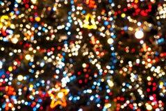与光线影响的圣诞树 免版税库存照片