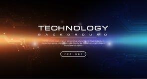 与光线影响的技术横幅橙色深蓝背景概念 皇族释放例证