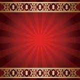 与光芒的明亮的红色背景从中心 免版税库存照片