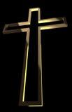 与光芒的木十字架 库存照片