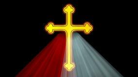 与光芒的神的慈悲十字架 库存例证