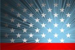 与光芒的美国国旗 库存图片