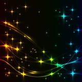 与光谱星和波浪的黑暗的背景 免版税库存图片