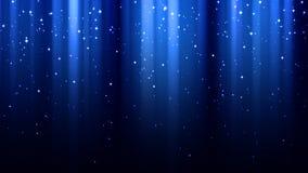 与光,极光borealis,闪闪发光,夜满天星斗的天空的抽象深蓝背景 库存图片