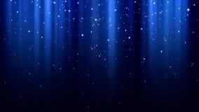 与光,闪闪发光,北极光,满天星斗的天空的蓝色抽象背景 库存图片