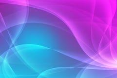 与光滑的线和闪闪发光的抽象蓝色和桃红色背景 免版税库存图片