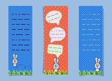 与兔宝宝和会话泡影的逗人喜爱的书签 垂直的横幅 跳跃在草的兔子 笔记本的滑稽的野兔 向量例证