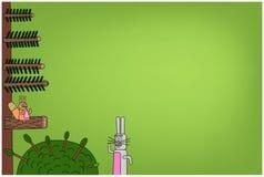 与兔宝宝和灰鼠的背景 免版税图库摄影