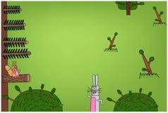 与兔宝宝和灰鼠的背景 免版税库存图片