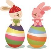 与兔宝宝和鸡蛋的复活节天 库存图片