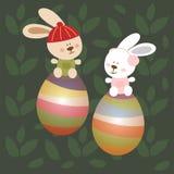 与兔宝宝和鸡蛋的复活节天 免版税库存照片