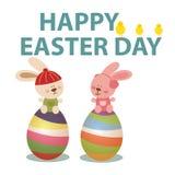 与兔宝宝和鸡蛋的复活节天 免版税库存图片