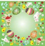与兔宝宝和鸡蛋的复活节天 库存照片