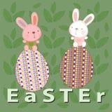 与兔宝宝和鸡蛋的复活节 免版税库存图片