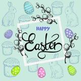 与兔宝宝的复活节卡片和杨柳和题字 图库摄影