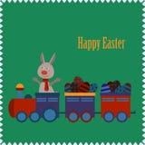 与兔宝宝的愉快的复活节印刷背景 库存照片