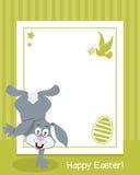 与兔宝宝的愉快的复活节垂直的框架 库存图片