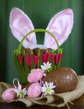 与兔宝宝耳朵和巧克力复活节彩蛋的复活节篮子 库存照片