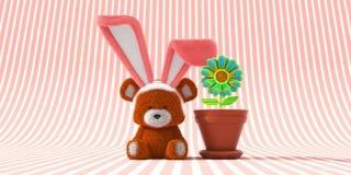 与兔宝宝耳朵和荧光的花的复活节熊 库存例证