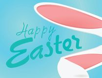 与兔宝宝耳朵的愉快的复活节卡片 皇族释放例证