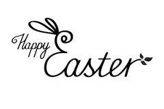 与兔宝宝耳朵的愉快的复活节文本 在白色的黑字法 免版税库存照片